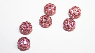 10pcs x 6mm Baby pink Pave Crystal Bead - 2 holes - PCB06-55-011